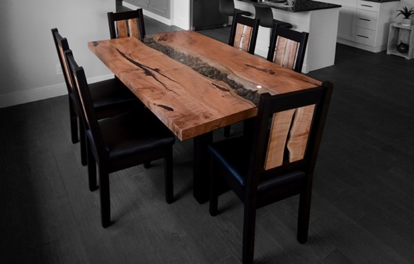 live edge maple slab custom dining table with steel base and dining chairs vancouver island