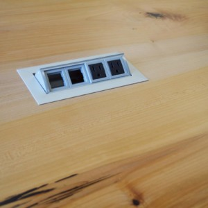 Close up of table top power port