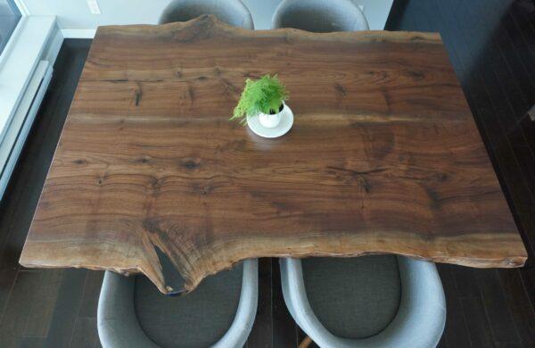 walnut live edge slab dining table