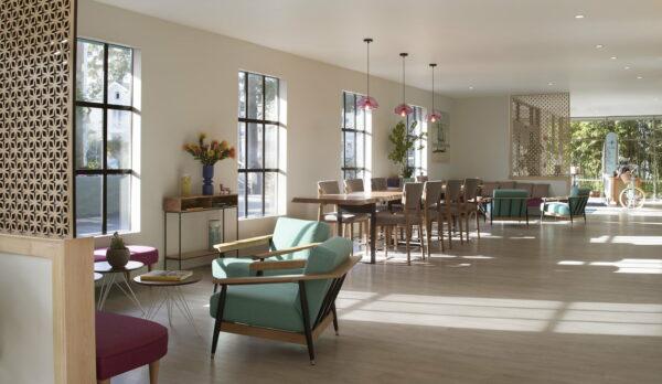 maple communal lobby table