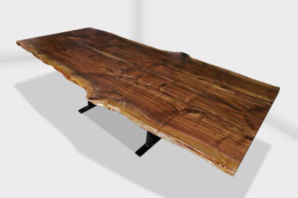 extending.walnut live edge slab dining table