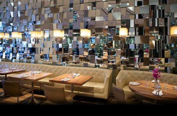 Bistro tables tops at JW Marriott restaurant